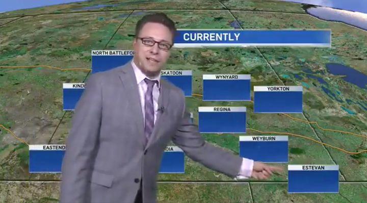 CTV Regina weather anchor Warren Dean gestures at an empty map.