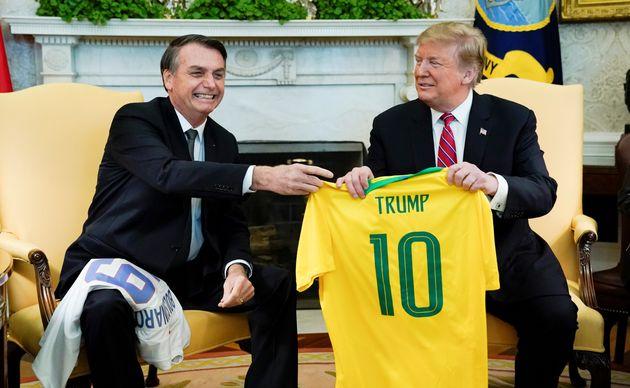 Bolsonaro e Trump em encontro na Casa Branca em março de