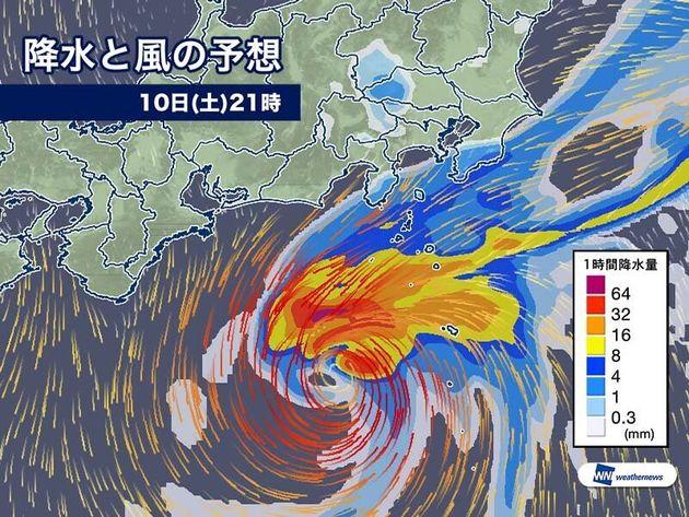 雨と風の予想 今夜21時