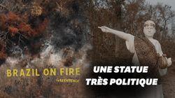 Greenpeace érige une statue de Bolsonaro sur les terres incendiées au