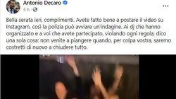 Il sindaco di Bari Decaro pubblica il video di una festa su Facebook: