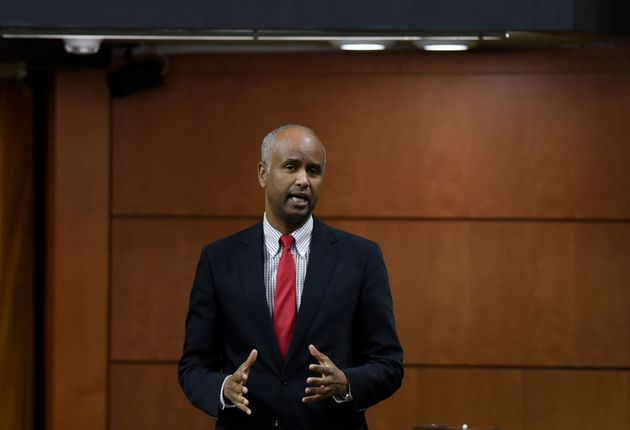 Minister of Families, Children and Social Development Ahmed Hussen rises during Question Period in the...