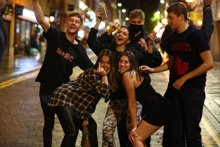 <strong>People out socialising in Liverpool city centre, ahead of the 10pm curfew on Saturday night.</strong>