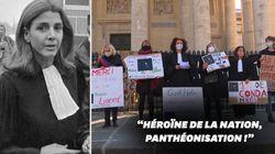 Des militantes féministes manifestent pour la panthéonisation de Gisèle