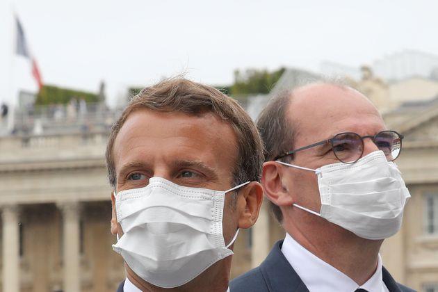 Image d'illustration - Emmanuel Macron et Jean Castex après le défilé militaire du 14 juillet 2020, place...