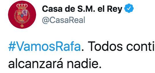 Mensaje de la cuenta oficial de la Casa Real a Rafa