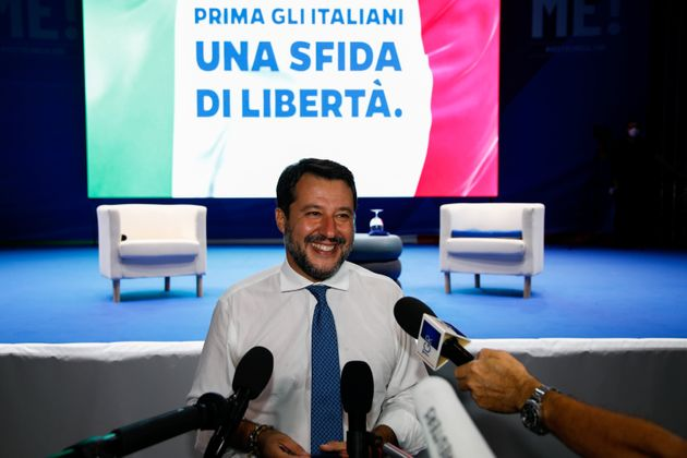Far-right leader Matteo Salvini makes declarations to the media after arriving to Sicily ahead of the...
