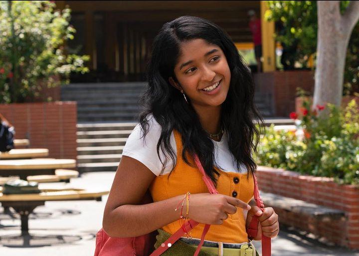 "Maitreyi Ramakrishnan playingDevi Vishwakumar in Netflix's ""Never Have I Ever."""