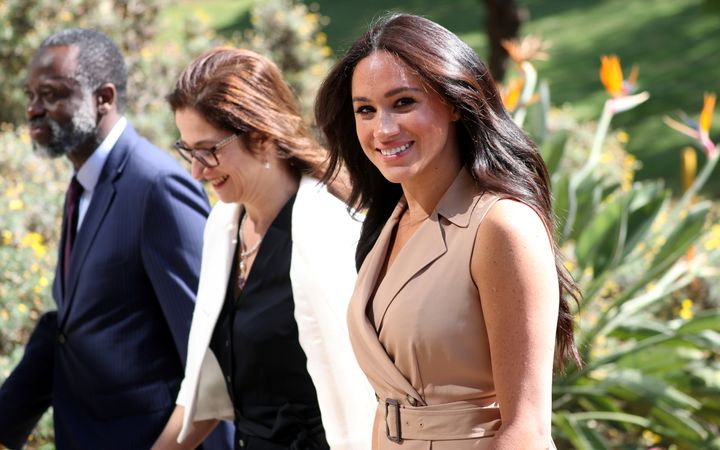 The Duchess of Susses arrives for an engagement at the University of Johannesburg in South Africa on Oct. 1, 2019.