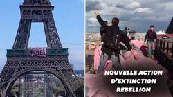 Extinction Rebellion déploie une banderole sur la tour