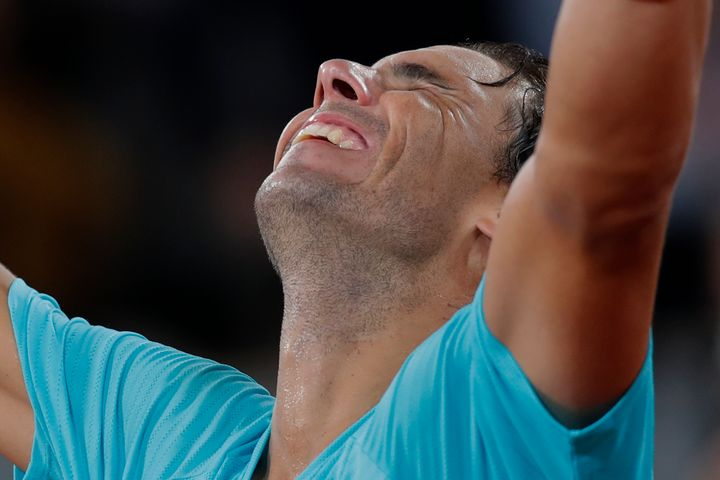 Spain's Rafael Nadal celebrates winning the final match of the French Open tennis tournament against Serbia's Novak Djokovic