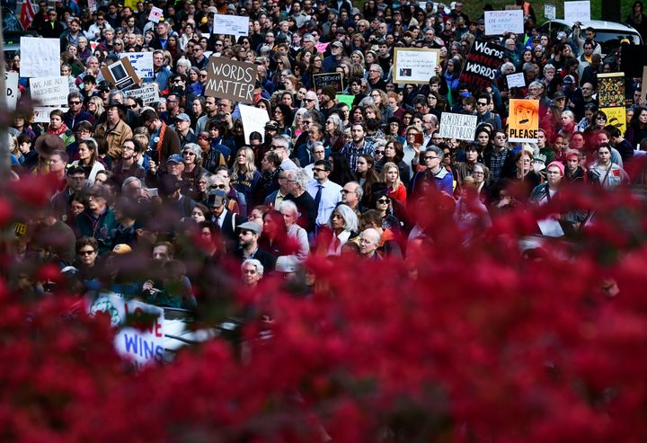People protesting against Trump gather near the Tree of Life Congregation on Oct. 30, 2018, in Pittsburgh.