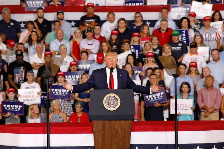 """Trump speaks about U.S. Rep. Ilhan Omar, and the crowd responds with """"send her back"""" at a """"Keep America Great"""" campaign rally in Greenville, North Carolina, in July 2019."""