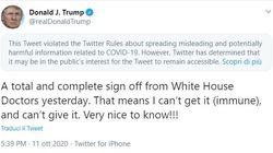 Twitter segnala il post di Trump sull'immunità al