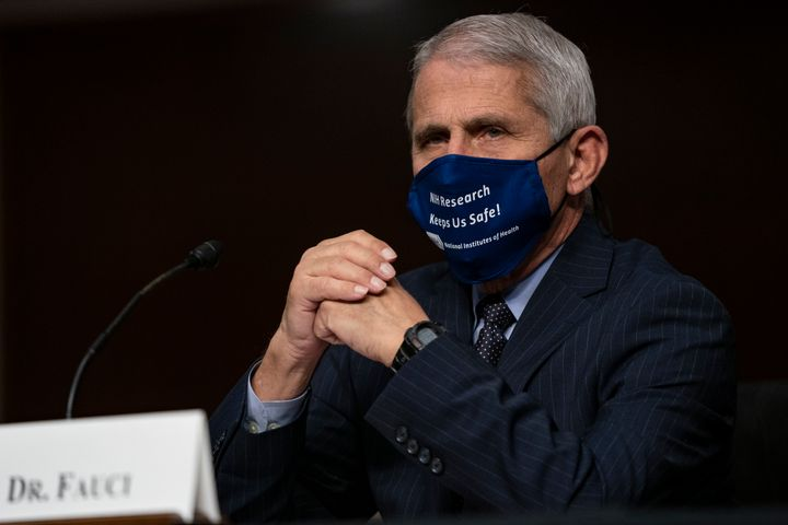 Dr. Anthony Fauci, director of the National Institute of Allergy and Infectious Diseases, is seen testifying on Capitol Hill