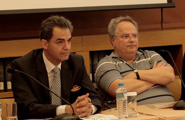 Ο καθηγητής του Παντείου Πανεπιστημίου και βουλευτής Α΄Αθήνας της ΝΔ, Αγγελος Συρίγος, δίπλα στον πρώην...