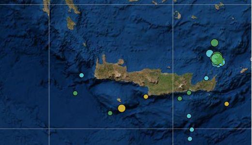 Πέντε σεισμοί έως 5,2 Ρίχτερ ανοιχτά της Σητείας στην Κρήτη-Οι τρεις σε 40