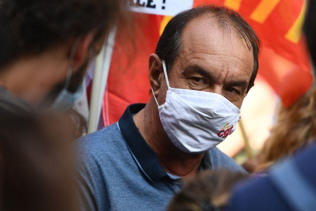 Philippe Martinez, ici lors de la manifestation parisienne du 17 septembre, invite le gouvernement à...