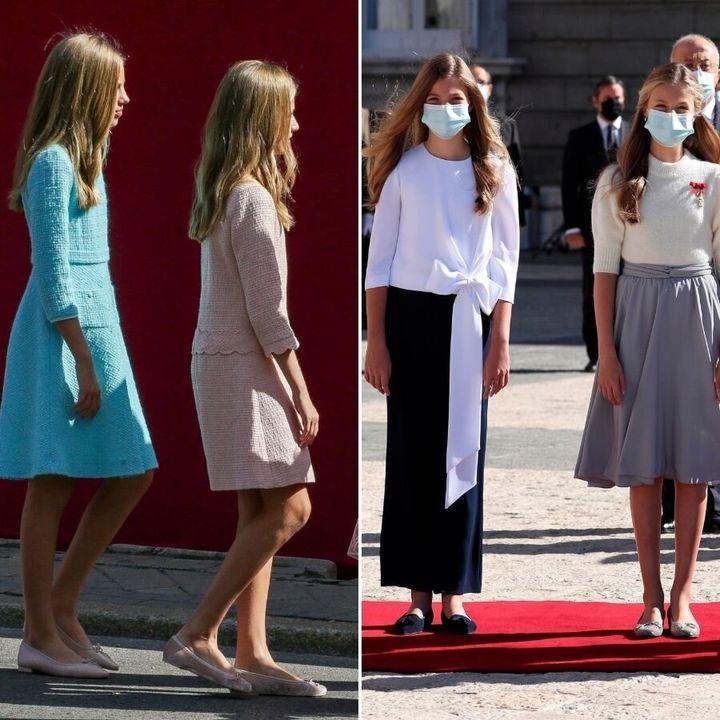 La princesa Leonor y la infanta Sofía, el 12 de octubre de 2019 y 2020.