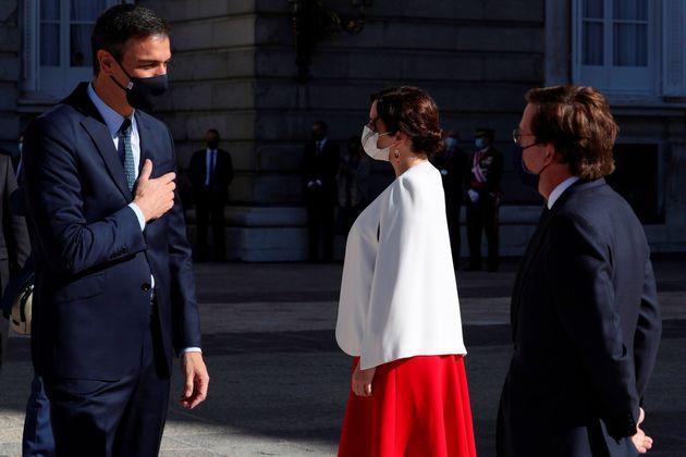 Pedro Sánchez, Isabel Díaz Ayuso y José Luis Martínez Almeida, hoy en el...