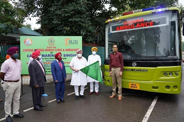 Punjab Chief Minister Captain Amarinder Singh flagging off a Corona testing mobile clinic and