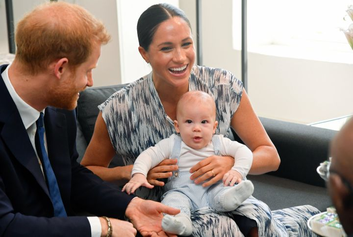 The Sussexes with their baby son, Archie, as they meet with Archbishop Desmond Tutu and his daughter Thandeka Tutu-Gxashe, last September.