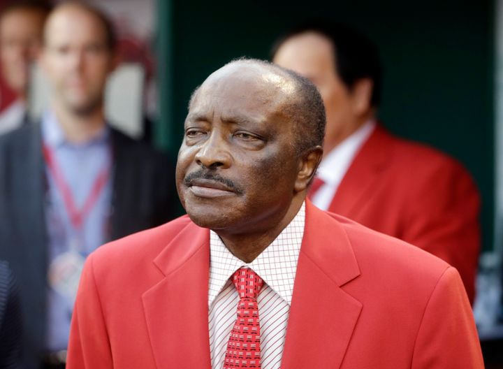 Joe Morgan before the MLB All-Star baseball game, Tuesday, July 14, 2015, in Cincinnati. (AP Photo/John Minchillo)