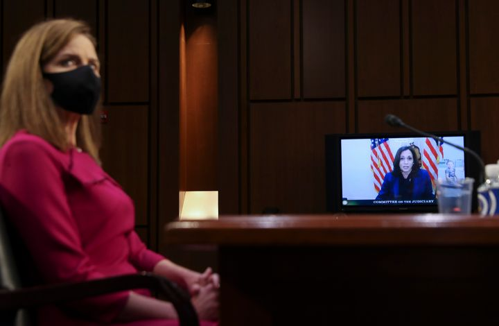 Sen. Kamala Harris (D-Calif.) spoke virtually in the confirmation hearing for Judge Amy Coney Barrett on Capitol Hill.