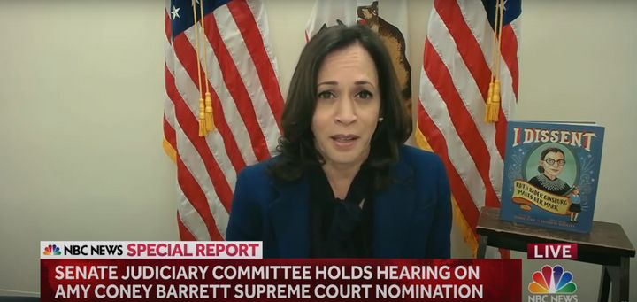 Vice presidential nominee Sen. Kamala Harris speaks during Monday's Senate Judiciary Committee confirmation hearing on Amy Co