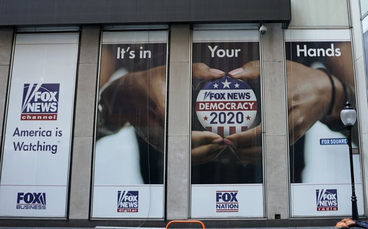 One of the displays outside of the Fox News headquarters on 6th Avenue in New York.