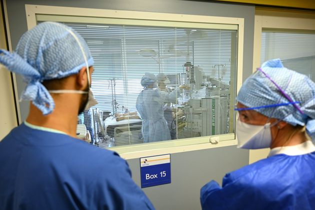Health personal are at work at La Timone public hospital, on September 25, 2020 in Marseille, southeastern...
