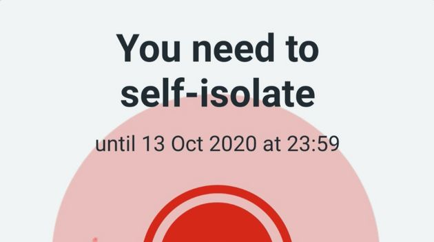 What the official NHS Covid App selif-isolation alert should look