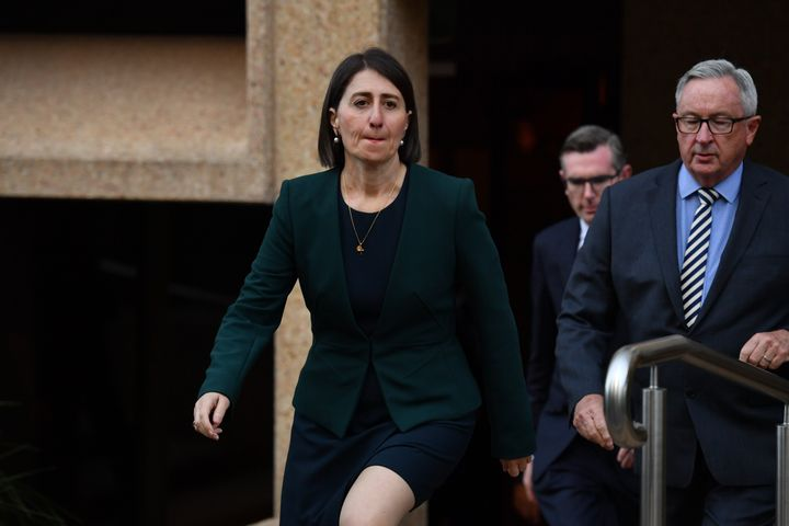 Gladys Berejiklian during a press conference at NSW Parliament House after giving evidence at the NSW Independent Commission Against Corruption on October 12, 2020 in Sydney.