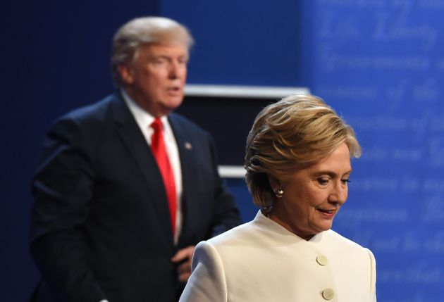 Hillary Clinton and Donald Trump after the final presidential debate during the 2016 US election.
