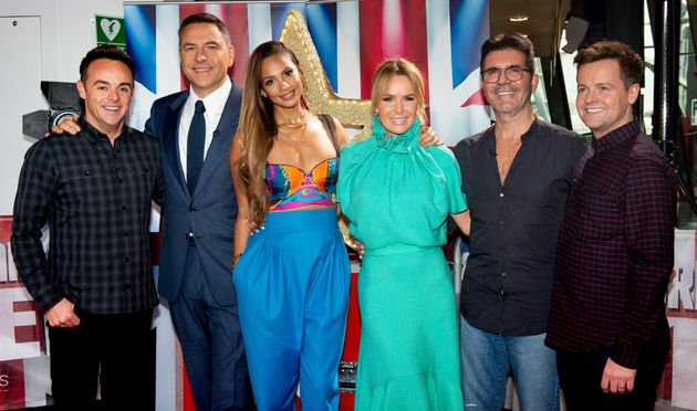 Simon and Amanda Holden with the rest of the BGT crew at auditions earlier this year