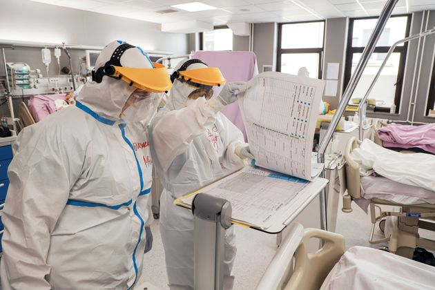 Medical staff work inside intensive care of the Vojvodina clinical centre with patients suffering from...