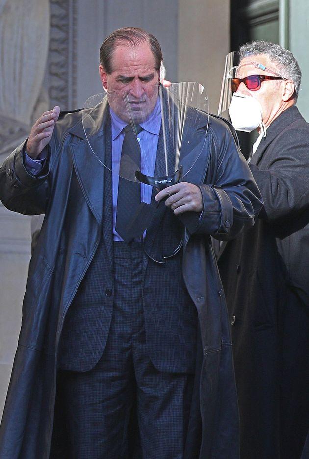 Colin was seen wearing a visor in between