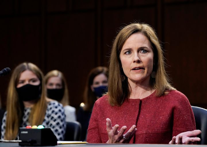 Supreme Court nominee Judge Amy Coney Barrett participates in the second day of her confirmation hearing before the Senate Judiciary Committee on Capitol Hill in Washington, D.C., on Oct. 13.