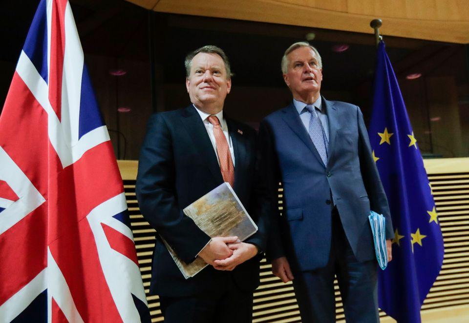Brexit talks between UK chief negotiator Lord David Frost (left) and his EU counterpart Michel Barnier...