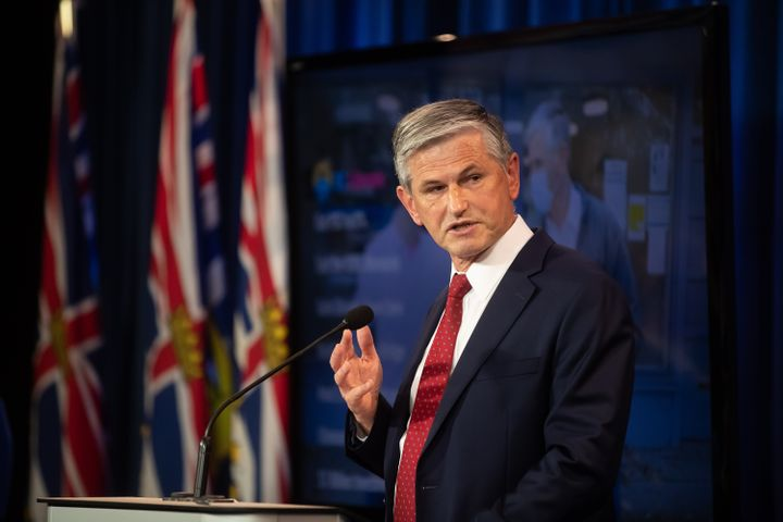 BC Liberal Party Leader Andrew Wilkinson speaks to reporters in Vancouver on Oct. 13, 2020.