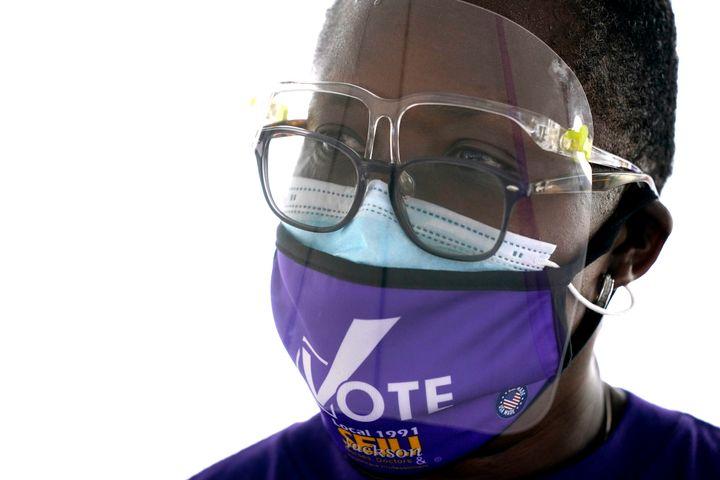 """Retired nurse Magalie Isme attends a """"SEIU Votes"""" campaign event for Democrat Daniella Levine Cava, a candidate for Miami-Dad"""