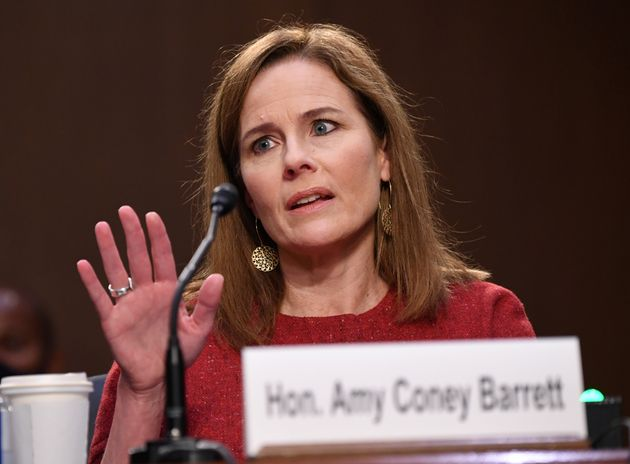 U.S. Supreme Court nominee Judge Amy Coney Barrett speaks during the second day of her confirmation hearing...