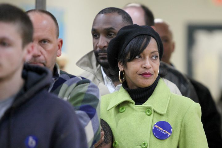 Then-congressional candidate Jahana Hayes waits in line to vote during the midterm election in Wolcott, Connecticut, on Nov.