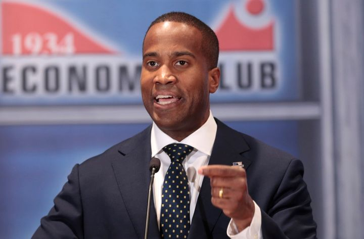 """Republican John James, who is running for the U.S. Senate from Michigan, once called the Affordable Care Act a """"monstrosity."""""""