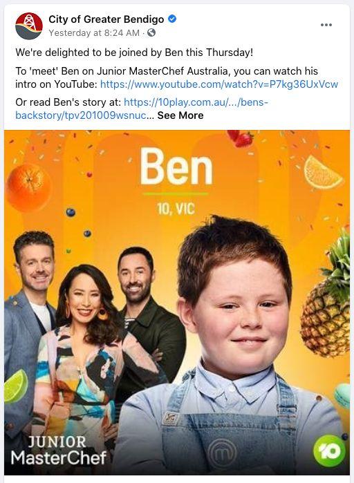 'Junior MasterChef Australia' contestant Ben Bolton will be teaching Bendigo locals how to make a delicious carrot cake.