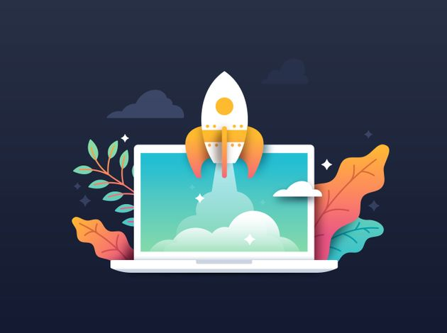 Spaceship rocket taking off from laptop startup development idea