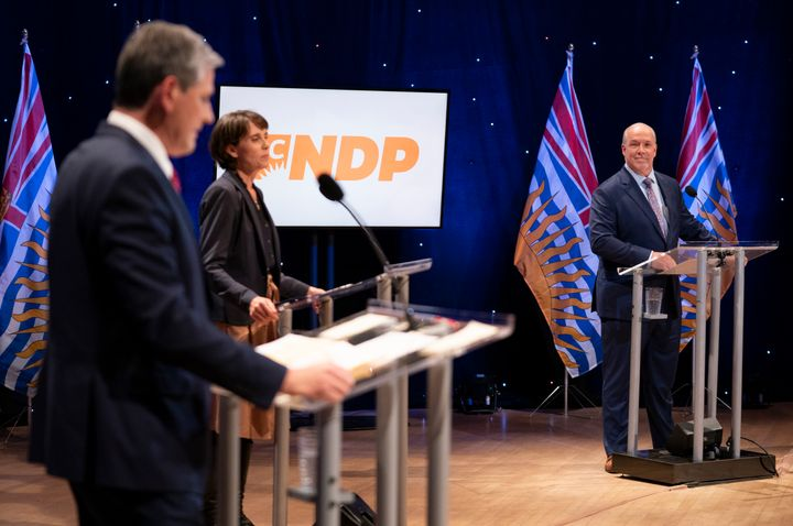 NDP Leader John Horgan, Green Leader Sonia Furstenau and Liberal Leader Andrew Wilkinson debate in Vancouver on Oct. 13, 2020.