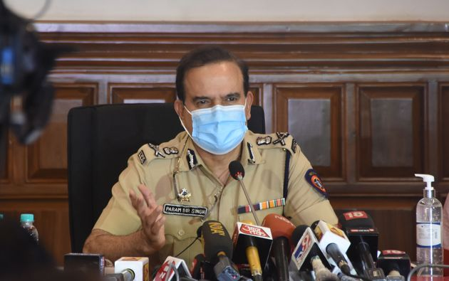 Mumbai Police Commissioner Param Bir Singh addresses the media on October 8, 2020 in Mumbai on the alleged...