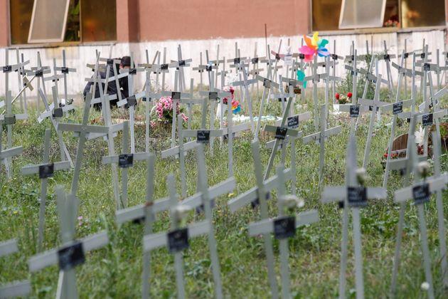 Cimitero Flaminio campo dove vengono seppelliti i feti, Roma, 2 Ottobre 2020. ANSA/GIUSEPPE
