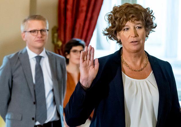 Petra De Sutter, el 1 de octubre, jurando su cargo en el Palacio Real de